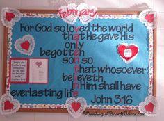 Sunday School Bulletin Board Ideas | ... Ideas / Valentine Bulletin board for youth group or children Sunday