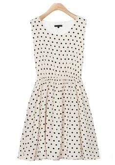 ++ Apricot Polka Dot Pleated Sleeveless Dress