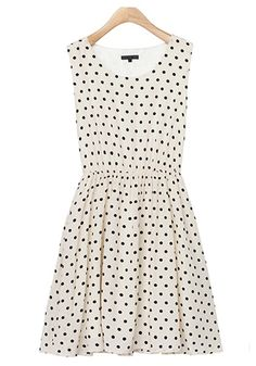 ++ Apricot Polka Dot Pleated Dress