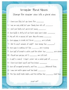 Ms. Lane's SLP Materials: Grammar: Irregular Plural Nouns