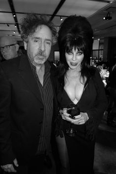"""""""Tim Burton and Elvira"""" WHAT an amazingly ghoulish moment in time!"""