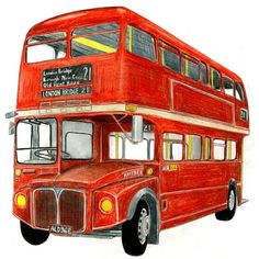 Routemaster Bus drawing by Christine Berrie Bus Drawing, Wall Drawing, London Bus, London Drawing, Bus Art, Cute Sketches, Routemaster, Double Decker Bus, Aesthetic Drawing