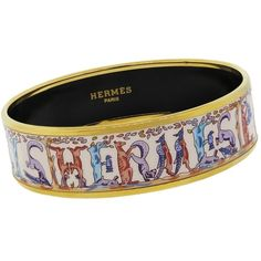 Pre-owned Hermes Enamel Multi-color Animal Gold Plated Narrow Bangle... ($499) ❤ liked on Polyvore featuring jewelry, bracelets, accessories, letter jewelry, colorful bangles, initial jewelry, pre owned jewelry and hermes bangle