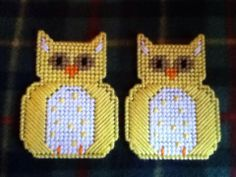 Plastic Canvas Yellow Owl Magnets
