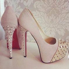Beige heels with studs