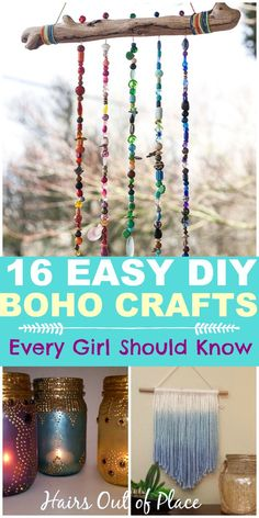 easy DIY boho crafts every girl should know about! DIY bohemian crafts are the perfect inexpensive way to decorate your bedroom, apartment or dorm. There's tons of ideas for macrame, wall hangings, candles, and so many more boho craft ideas! Bohemian Crafts, Hippie Crafts, Boho Diy, Bohemian Decor, Bohemian Furniture, Easy Diy Crafts, Diy Crafts To Sell, Home Crafts, Teen Crafts