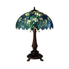 "Meyda 26""H Nightfall Wisteria Blue And Green Art Glass Table Lamp"