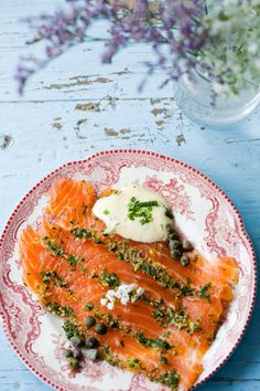 Danish Gravad Laks (cured #salmon ) This traditional Danish dish can be enjoyed at any meal by itself, as an accompaniment or as an ingredient, You are sure to find this on a FOOD TOUR from Viator. Get details at: http://www.allaboutcuisines.com/food-tours/denmark/in/denmark #Danish Food #Travel Denmark #Food Tours Denmark