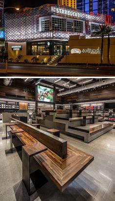 11 Starbucks Coffee-Shops aus der ganzen Welt / / The Starbucks Lage am berühmten Las Vegas Strip verfügt über Stadionbestuhlung, Platz für bis zu 40 Personen, sowie eine 150 qm große Kinoleinwand, die spielt einen kurzen Film über wie Starbucks Kaffee von der Bohne zum Cup hergestellt wird.