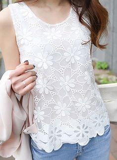 Camisetas Informal Floral de Algodão Em torno do pescoço Sem magas