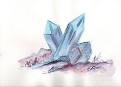 Blue crystal original watercolor 9 x 12 magic mystic occult