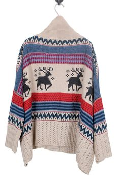 Shawl Collar Deer Cardigan. i used t have something like this but i was in 5th grade. damn.