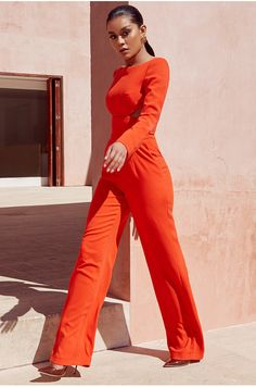2018 New Women Orange Long Sleeve Jumpsuit High Quality Sexy woman in orange jumpsuit - Woman Jumpsuits Backless Jumpsuit, Casual Jumpsuit, Bodycon Dress, Elegant Outfit, Classy Dress, Classy Outfits, What To Wear Today, Playsuits, Jumpsuits For Women