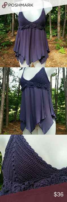 Boho Handkerchief Crochet top So pretty! Layers of Handkerchief hemmed midnight blue pieced material over cropped lining, hanging from crochet upper lined bra top. Gorgeous Boho style summer top! Tops