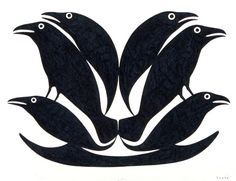 Raven Shapes by Kenojuak Ashevak, Inuit artist