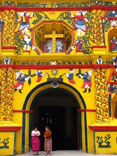 A small village in the Western Highlands of Guatemala, San Andrés Xecul is home to a brightly-painted Catholic church adorned with a fascinating array of Mayan, Christian and agricultural images. #travelingTOMS