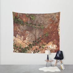 Hanging Tapestry - Wall Tapestry - Rocks and Leaves - Brown - Nature Photo - Large Wall Hanging - Home Decor - Made to Order (78.00 USD) by ShelleysCrochetOle