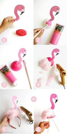 DIY Flamingo Birthday Party Decorations - learn to craft these table, headbands, photo booth props and lawn decor for your summer celebrations!DIY Flamingo Birthday Party Decorations - would be cute for an Alice in wonderland party too. Flamingo Party, Flamingo Baby Shower, Flamingo Birthday, Pink Birthday, Flamingo Costume, Pink Flamingo Craft, Unicorn Birthday, Straw Decorations, Birthday Party Decorations Diy