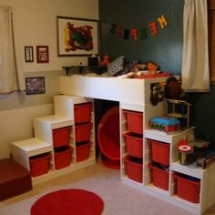 Streamlined Ikea Kids Room Furniture Design With Bunk Bed And Stairs For Storage With Red Baskets And Cool Round Rug And Neutral Walls With Small Windows , Fun and Cute Bunk Beds With Stairs for Children's Bedroom Decor In Bedroom Category