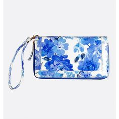 Avenue Painted Floral Wristlet ($12) ❤ liked on Polyvore featuring bags, handbags, clutches, blue sea, plus size, floral purse, zipper purse, wristlet purse, blue purse and white clutches