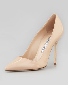 BB Patent 105mm Pump, Nude (Made to Order) by Manolo Blahnik at Neiman Marcus.