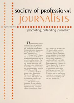 """Athena yearbook 2005. """"Society of professional journalists, promoting, defending journalism."""" ::Ohio University Archives."""
