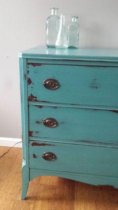 Teal turquoise vintage hepplewhite dresser