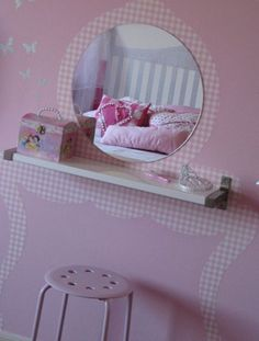 mommo design: IKEA HACKS - EKBY shelf, a mirror and some wallpaper for a very slim vanity