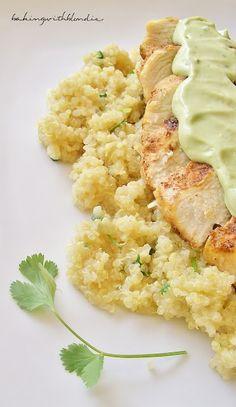 Blackened Chicken and Cilantro Lime Quinoa with Greek Yogurt Avocado Puree