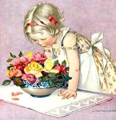 My Puzzles - Children - Vintage - Girl & Flowers 1927