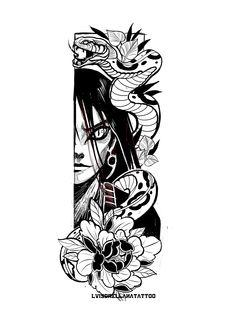 Hit Tutorial and Ideas Naruto Tattoo, Anime Tattoos, Hot Tattoos, Skull Tattoos, Body Art Tattoos, Mosaic Tattoo, Tiara Tattoo, One Line Tattoo, Anubis Tattoo