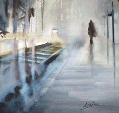 Aitor Renteria Art Aquarelle, Abstract Watercolor, Watercolor Paintings, Abstract Art, Watercolors, Oil Paintings, Subway Art, Blue Art, Silhouette