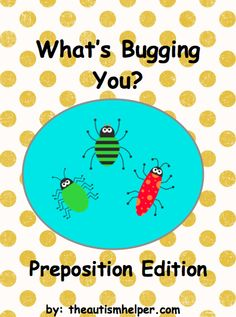 What's Bugging You? Preposition Edition {an adapted book to work on vocabulary and preposition words/concepts for children with emerging verbal skills} from theautismhelper.com