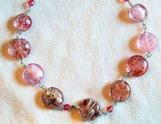 Pink lampwork glass and silver