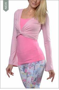 Supima/Lycra Cropped Bell Sleeve Cardigan (Light Pink) | #HardTailForever