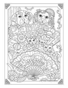 """Marjorie Sarnat's Pampered Pets """"Cats, Dogs and Fans"""": and like OMG! get some yourself some pawtastic adorable cat shirts, cat socks, and other cat apparel by tapping the pin! Dog Coloring Page, Doodle Coloring, Animal Coloring Pages, Mandala Coloring, Coloring Book Pages, Printable Coloring Pages, Coloring Sheets, Fan Drawing, Illustration"""