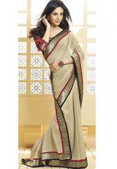 #Beige and #red color tissue #crepe material #designer #saree #sari