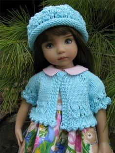 """~AQUA SWEATER & HAT~by Tuula fits 13"""" Effner Little Darling to a """"t""""!"""