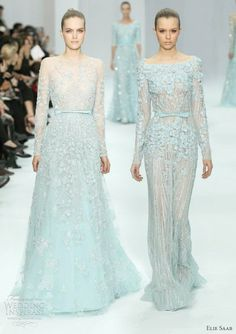 elie saab couture 2012 spring - baby blue long sleeve wedding gowns