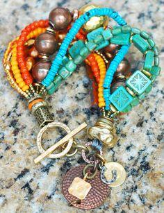 Zion Charm Bracelet: Desert-Inspired Copper, Gold, Orange & Blue Glass Charm Bracelet $205