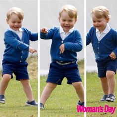 "Triple ""Trouble"" George...October 15, 2014: The Duke of Cambridge highlighted differences in the personalities of his two children. Prince William described Princess Charlotte as ""lady-like"" today and her big brother George as ""lively""."
