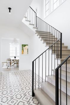 Foyer with White Oak Staircase Metal Railing and Navajo Zebra Cement Tile Modern Staircase Cement Foye foyer Metal Navajo oak railing Staircase Tile white Zebra Metal Railings, Staircase Railings, Staircase Metal, Stairways, Wood Stairs, Tile Stairs, Banisters, Black Stair Railing, Staircase Landing