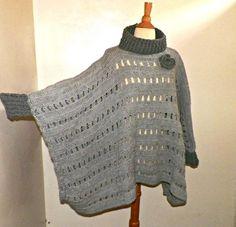Gray Boho Poncho Oversized Sweater Cowl by wildirishrosecrochet