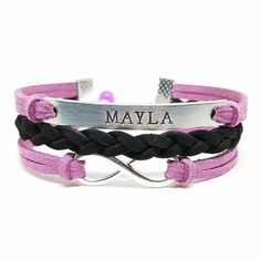 Girls Name Bracelet Personalized Name by BlumaAffirmationsCo Flower Girl Bracelets, Id Bracelets, Name Bracelet, Black And White Bags, Girl Names, Gifts For Girls, Hand Stamped, Belt, Trending Outfits
