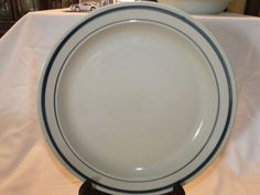 "Vintage Stoneware Made In China Dinner Plate 10 1/4"" Blue Rim Stripes"