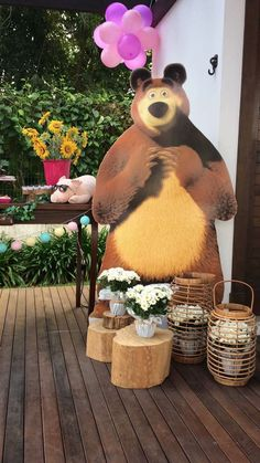 backdrops para fiesta de cumpleaños de Masha y el Oso Bear Birthday, 1st Birthday Girls, 3rd Birthday Parties, Bunny Party, Bear Party, Marsha And The Bear, Ben E Holly, Bear Theme, Birthday Decorations