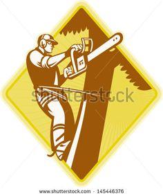Illustration of lumberjack arborist tree surgeon holding a chainsaw on isolated white background. - stock vector #lumberjack #retro #illustration