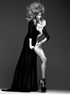 Masha Novoselova For Pulp No. 5. Black and white, studio concepts, model photography, high fashion. Love the MUAH work and the use of the dress slit to show off leg angles.