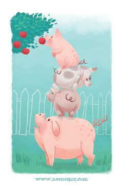 Original art created for Snorffles & Meeps and independently published art book released in 2013 This Little Piggy, Little Pigs, Pig Illustration, Illustrations, Tout Rose, Pig Crafts, Images Disney, Pig Art, Mini Pigs