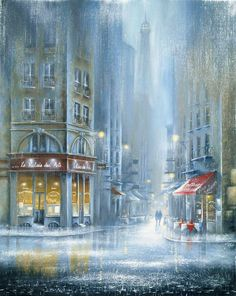Parisian Walkways by Jeff Rowland - Contemporary Paintings & fine art pictures available in our gallery - Free delivery on all orders over Rain Art, Creation Photo, City Art, Beautiful Paintings, Belle Photo, Art Pictures, Photos, Amazing Art, Illustration Art